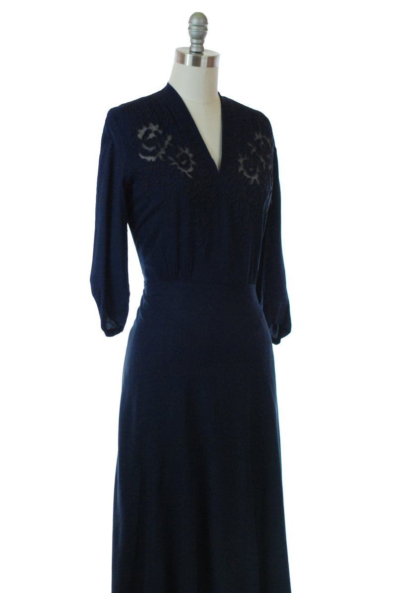 Pretty 1940s Navy Rayon Dress with Sheer Cutaway Yoke Detailing