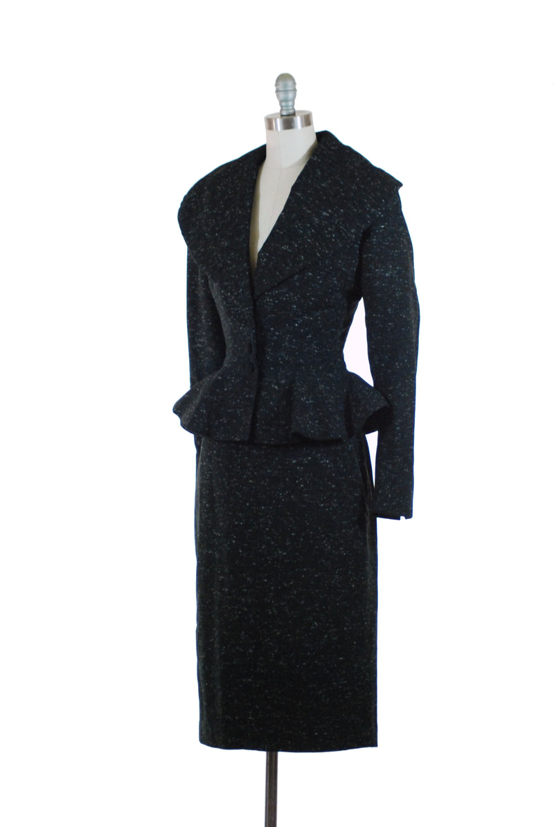 Layaway Installment for Exquisite 1950s Lilli Ann Suit of Salt and Pepper Wool with Wasp Waist and Massive Portrait Collar