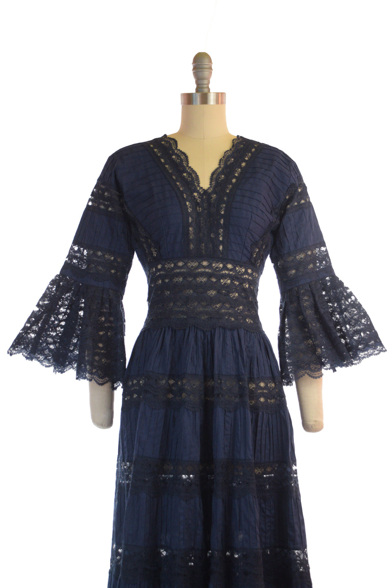 "Scandalous 1970s Mexican ""Wedding"" Dress in Navy with Sheer Lace and Bell Sleeves"
