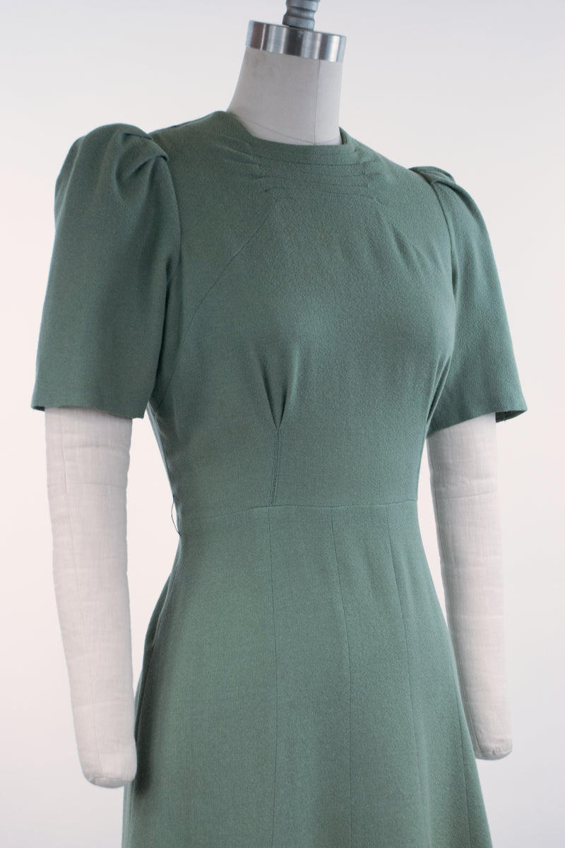 Fantastic Early 1940s Sage Green Two Piece Wool Dress Set with Fur Trimmed Jacket and Puff Sleeve Dress