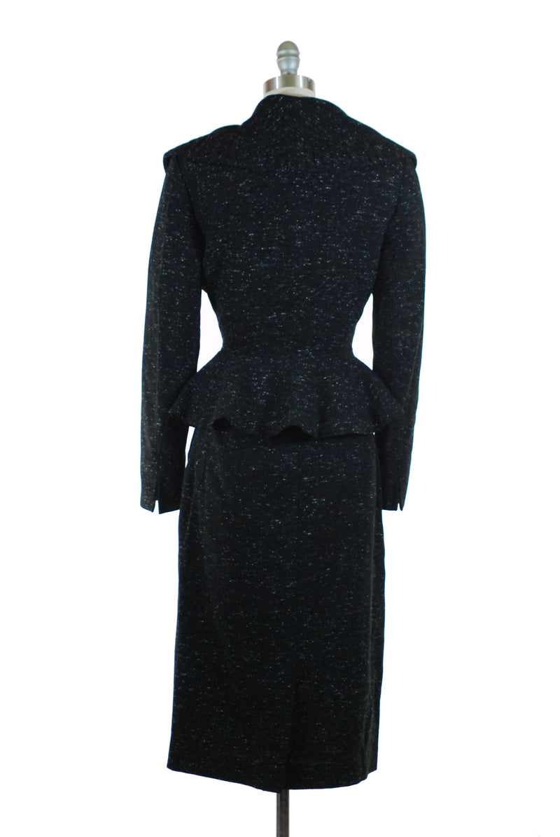 RESERVED on LAYAWAY Exquisite 1950s Lilli Ann Suit of Salt and Pepper Wool with Wasp Waist and Massive Portrait Collar