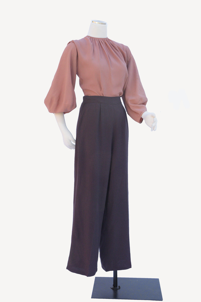 Layaway Deposit for Killer 1940s High Waist Dark Brown Cotton Trousers with