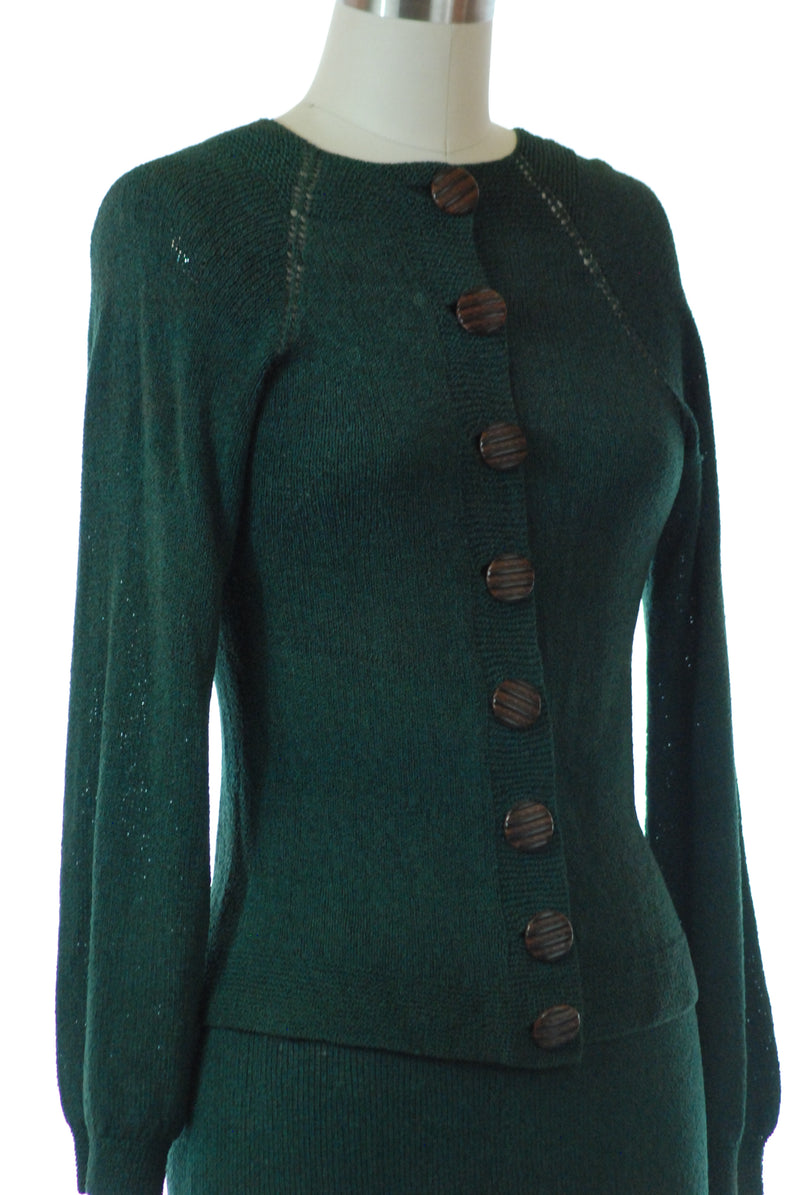 Gorgeous 1930s Sweater Set Knit of Forest Green Rayon Yarn