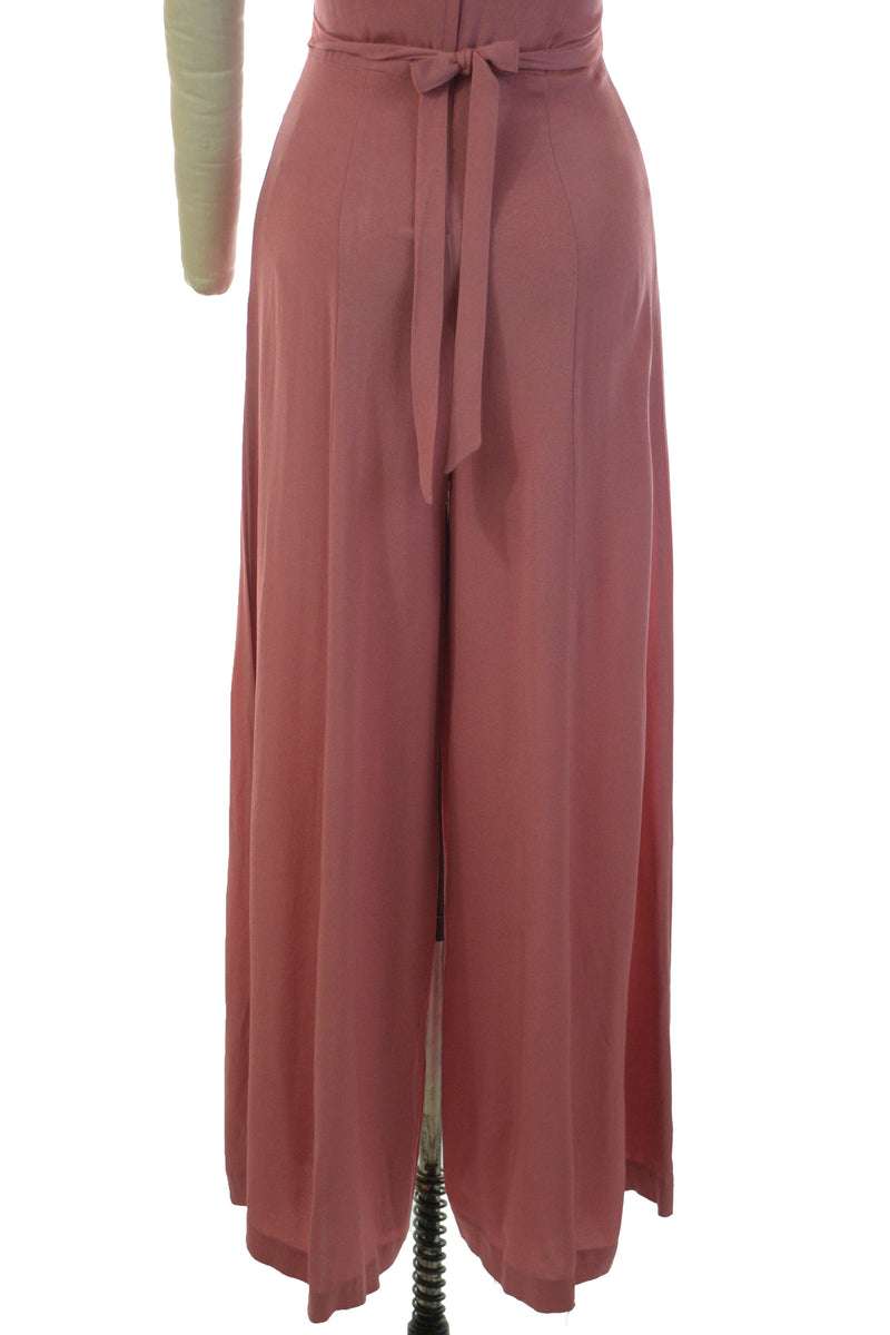 Killer 1980s does 30s or 40s Wide Legged Palazzo Pant Jumpsuit with Midwaist