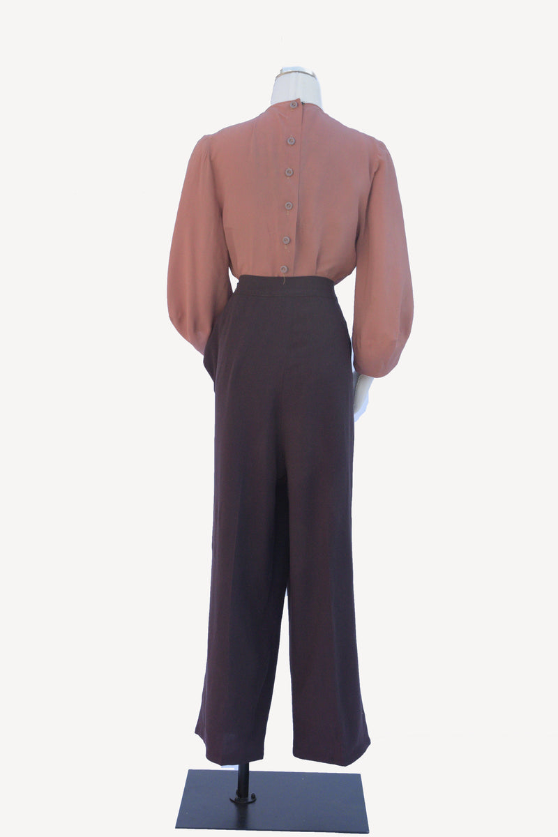 RESERVED Killer 1940s High Waist Dark Brown Cotton Trousers with