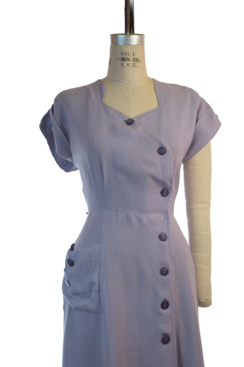 Classic Post War Lilac Colored 40s Day Dress in a Drapey Rayon/Linen Blend