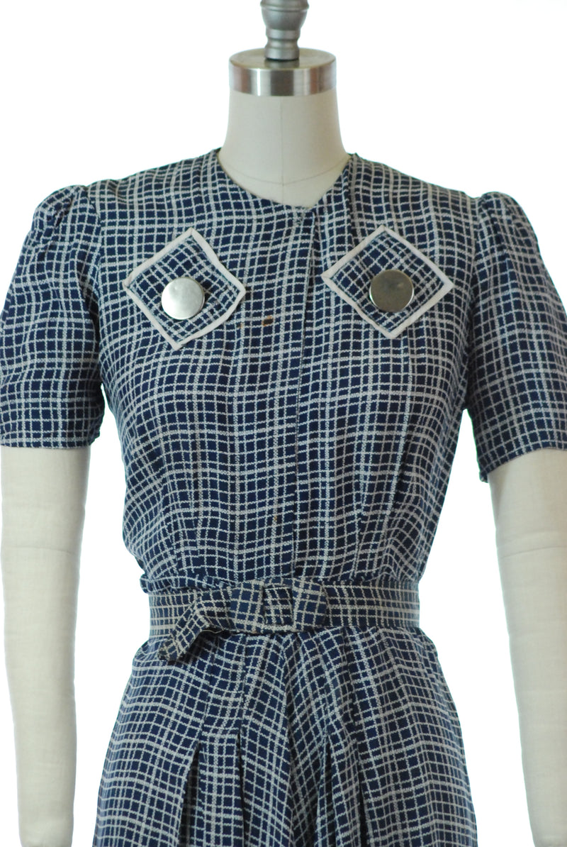 Cute Early 1940s As is Day Dress in Navy Cold Rayon with White Check