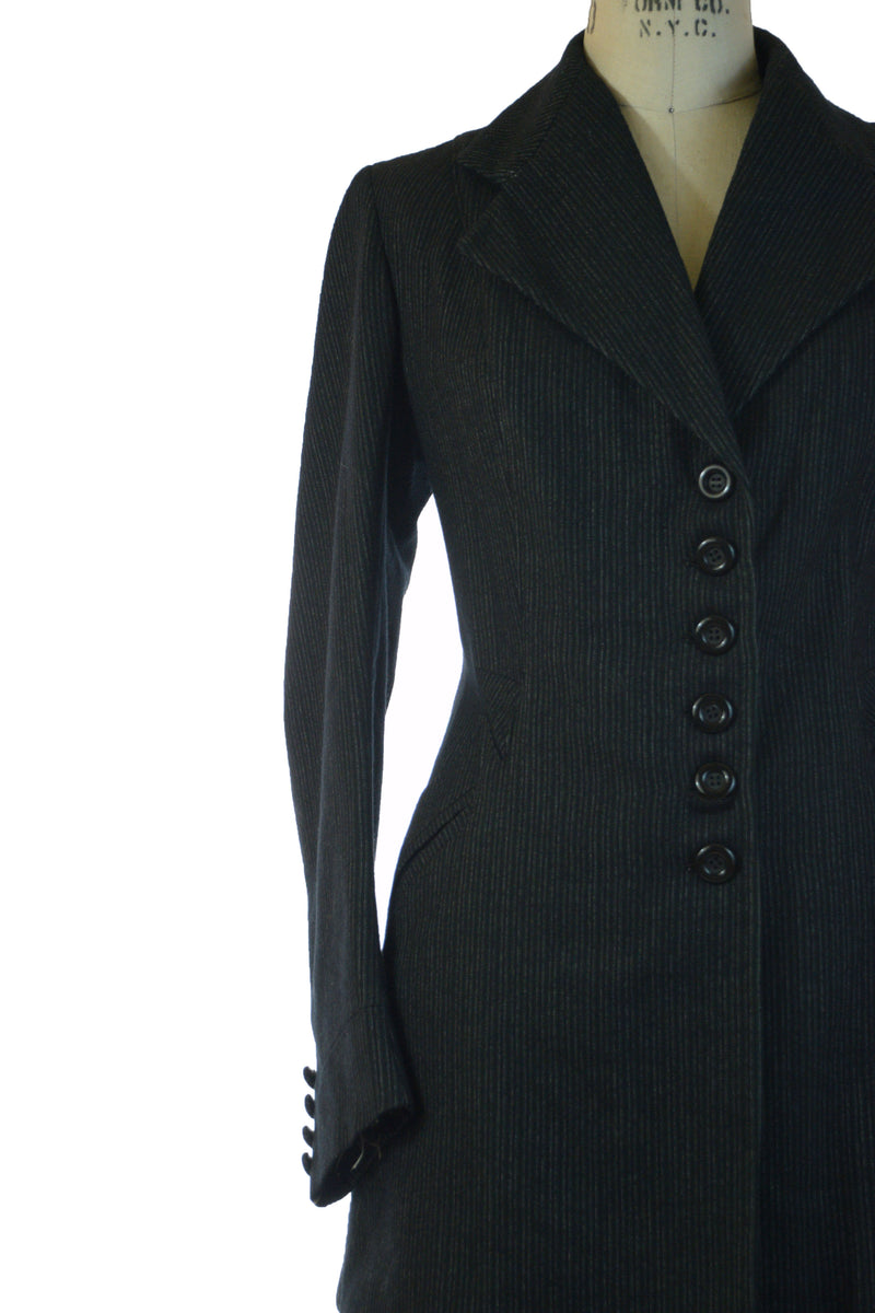 Gorgeous 1910s Pinstripe Wool Suit in Charcoal with with Button Accents
