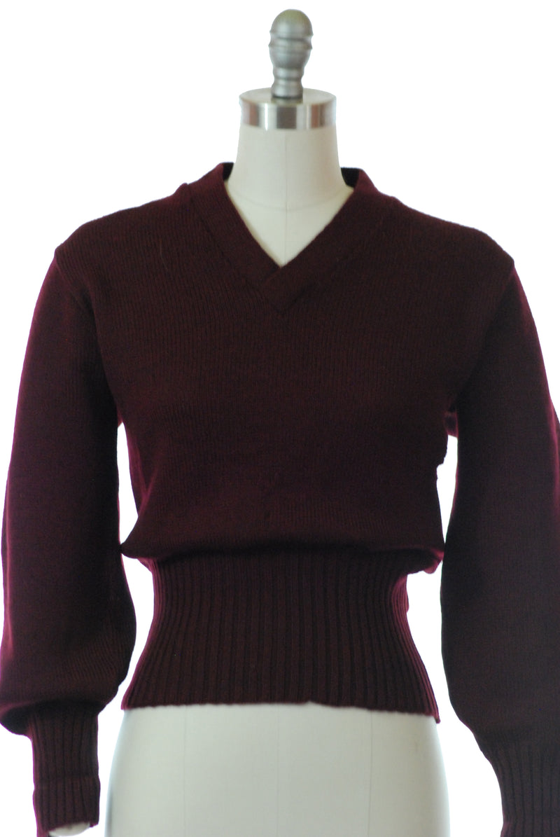 Rare 1940s Varsity Style School Sweater with Wide Waistband