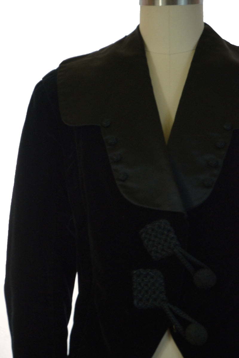 Decadent 1910s Titanic Era C. 1912 Velveteen Jacket with Satin Collar and Asymmetric Closure