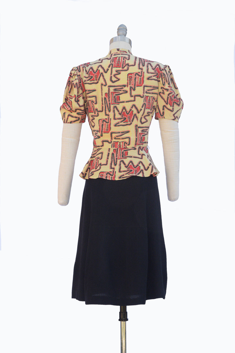 Gorgeous 1930s Honey Yellow Puff Sleeve Dress with Geometric Print