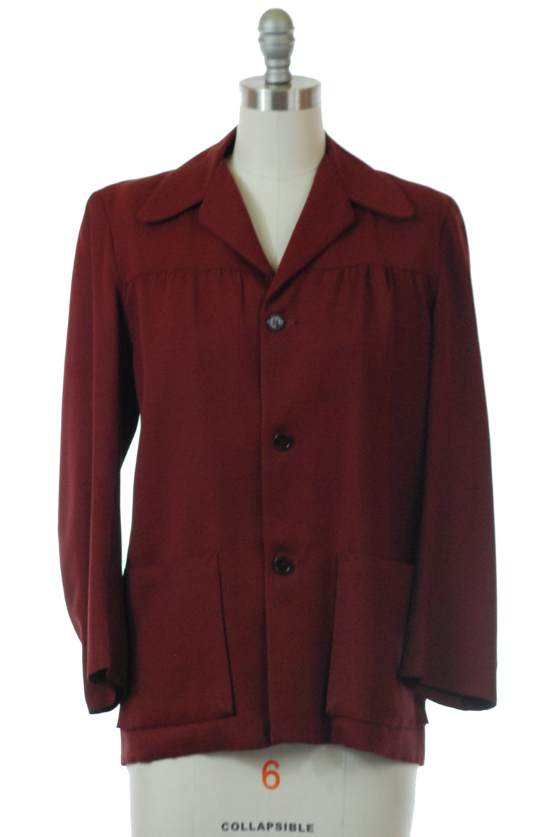 Sharp 1940s Casual Hollywood Jacket in Deep Burgundy Gabardine