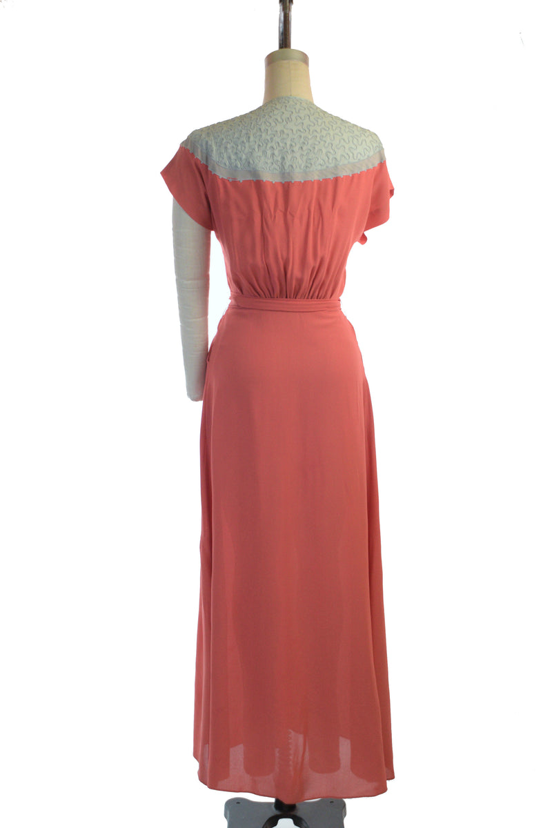 Bold 1940s Colorblock Dressing Gown or Hostess Dress in Coral with Grey Soutache
