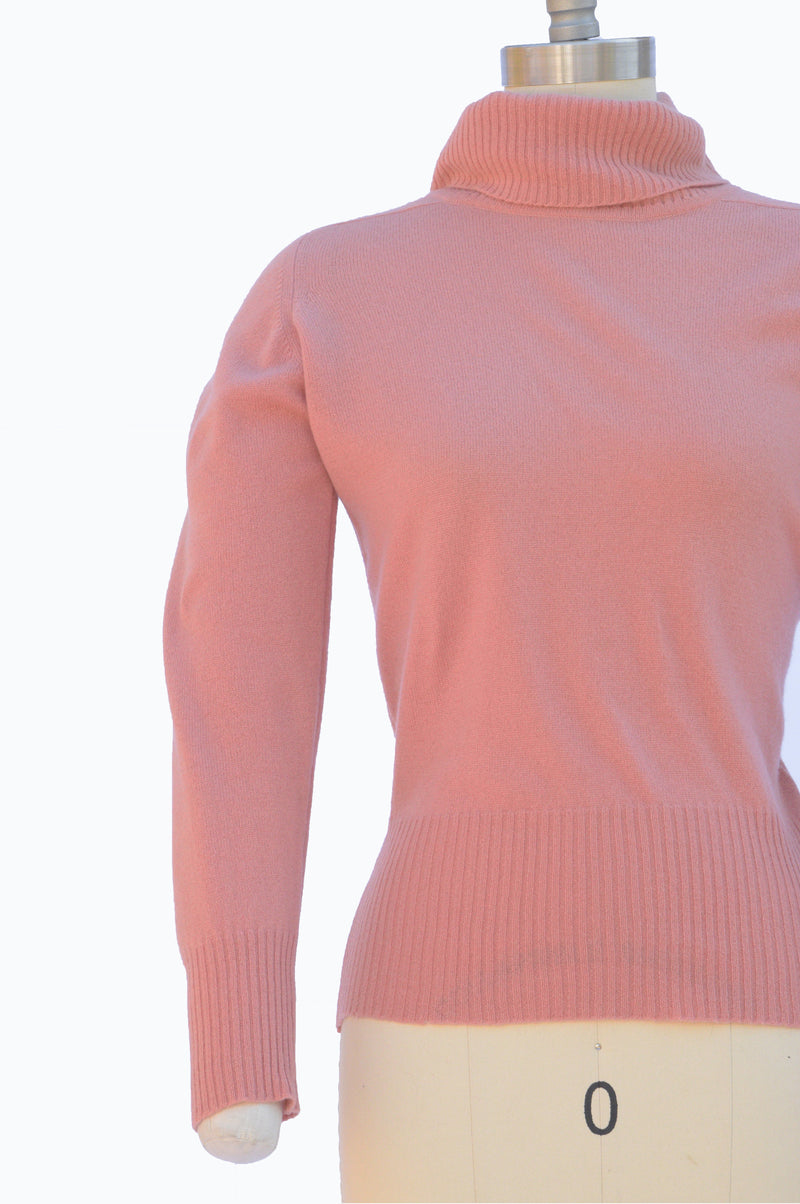 Soft as Can Be 1970s Peach Cashmere Turtleneck Sweater