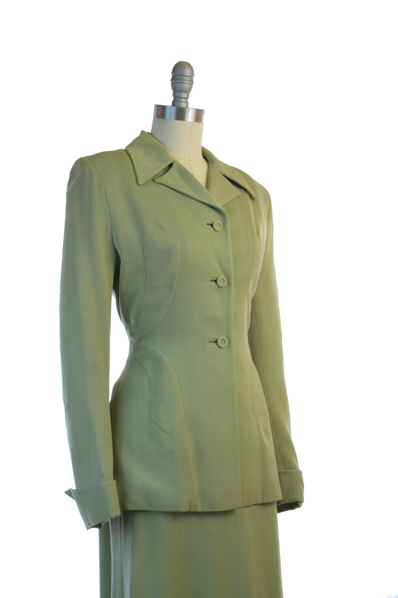 Impeccably Tailored 1940s Suit in Saturated Sage Green by Youthcraft