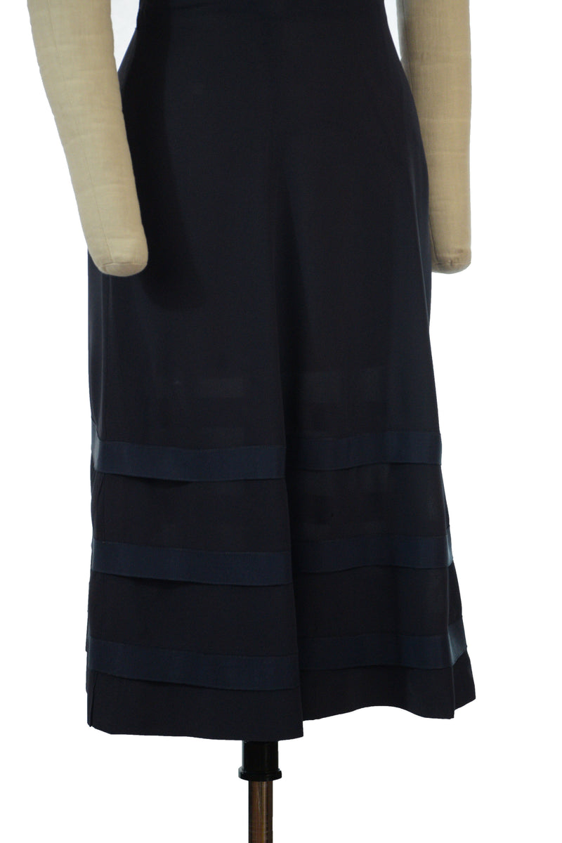 Classic 1940s Navy Blue Rayon Day dress with Grosgrain Banded Hem
