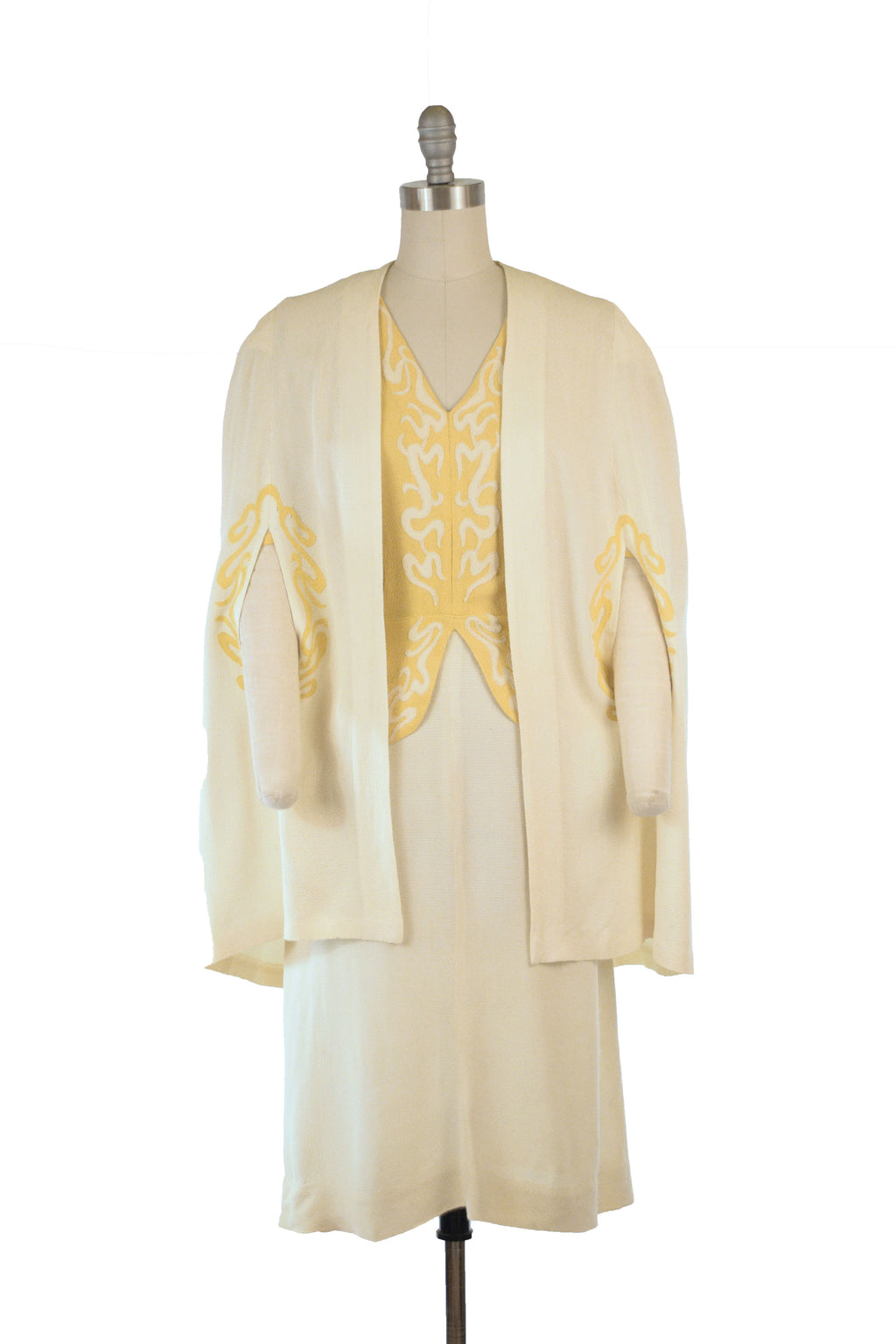 Exceptional 1930s FOGA Caped Two Piece Dress Ensemble in Sunshine Yellow and Warm White