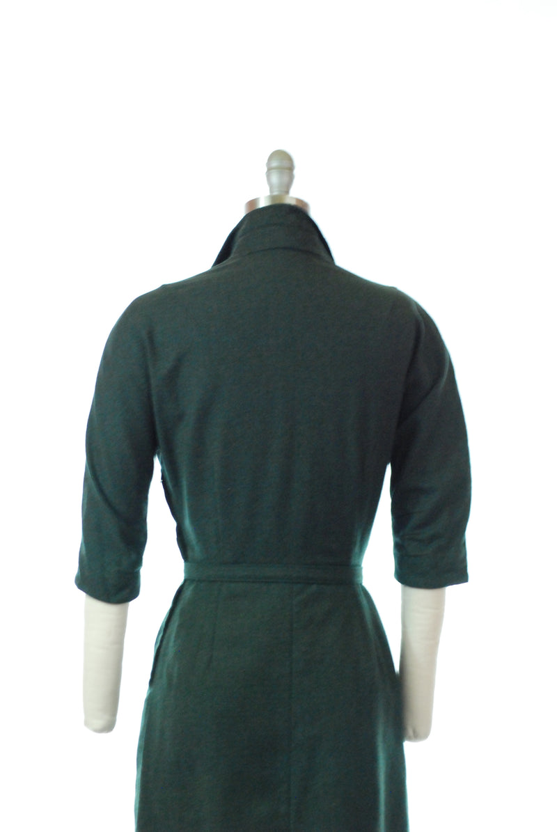 Smart 1950s Tailored Wool Day Dress of Deep Heathered Green with Belt