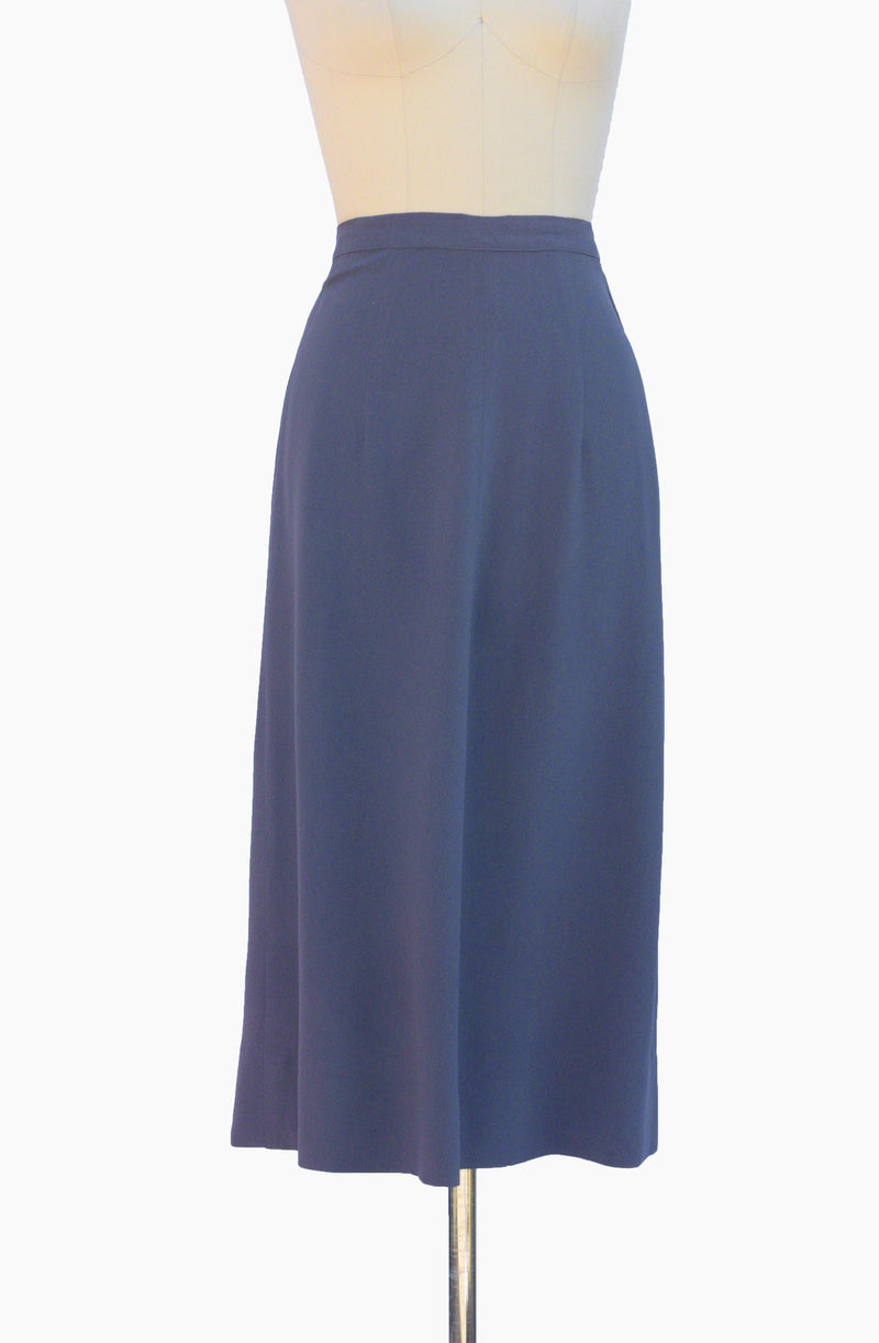 Timeless 1940s Steel Blue Rayon A Line Skirt