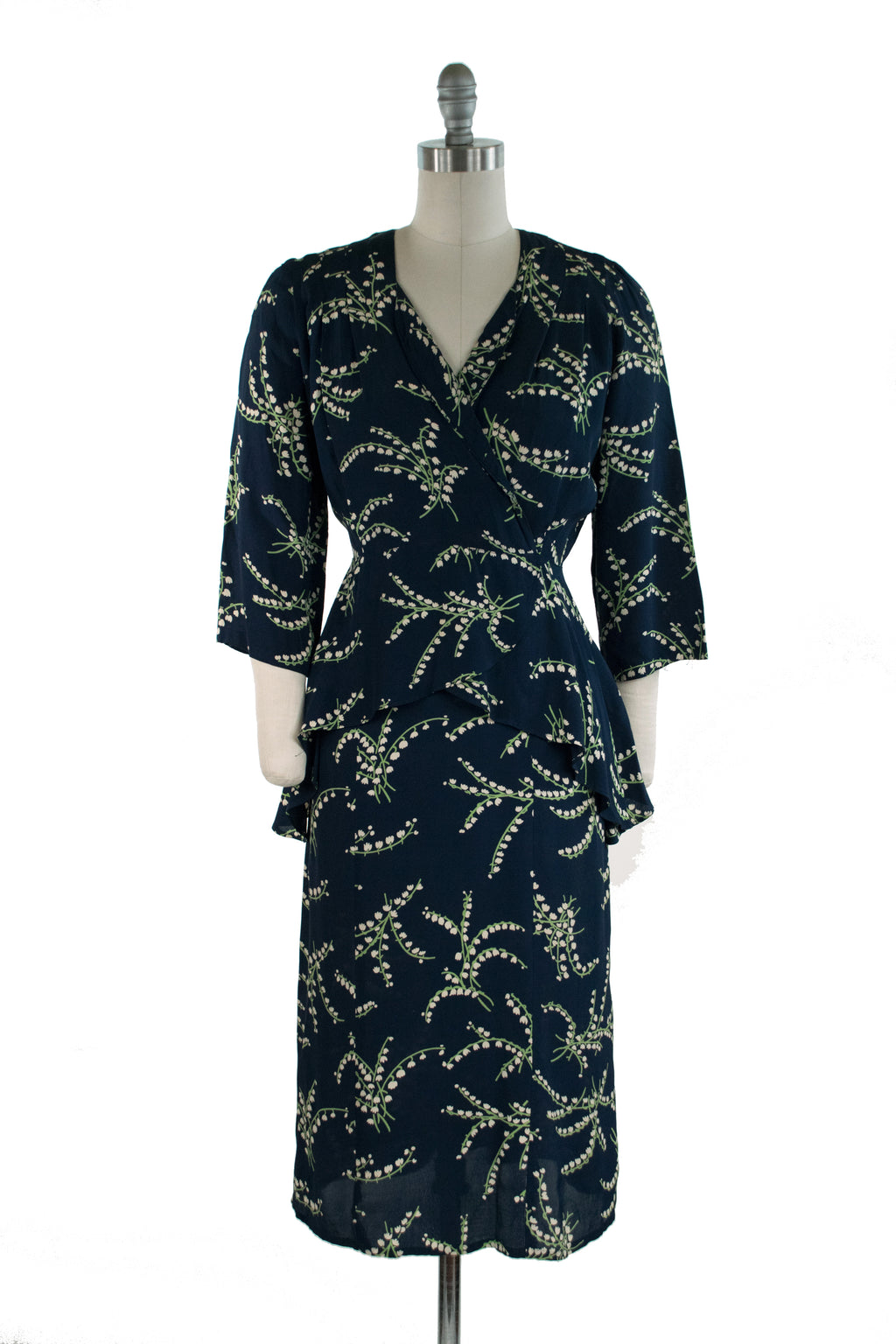 Gorgeous 1940s Lily of the Valley Rayon Peplum Dress