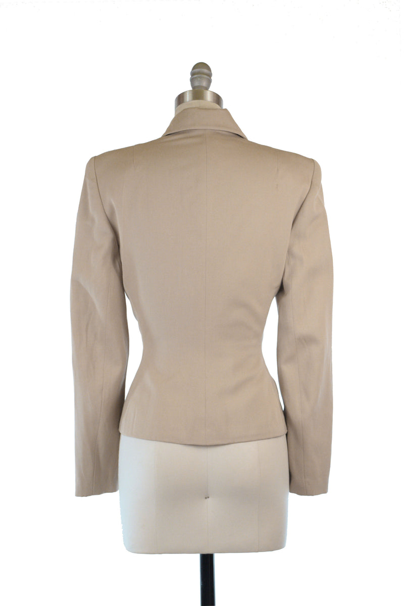 Killer 1940s Two Piece Suit Jacket with Optional Caplet in Taupe Wool Gabardine