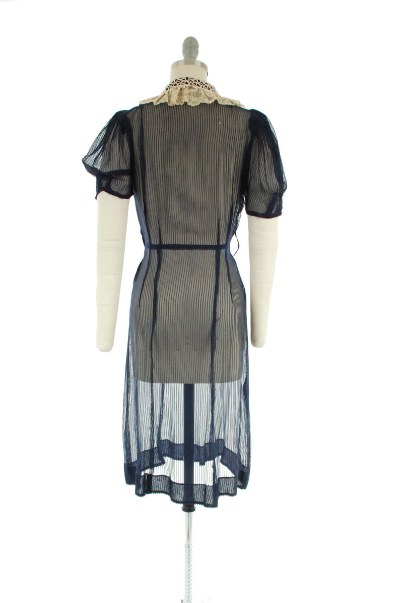 Vintage Late 1930s Sheer Day Dress in Navy Blue with Ivory Collar