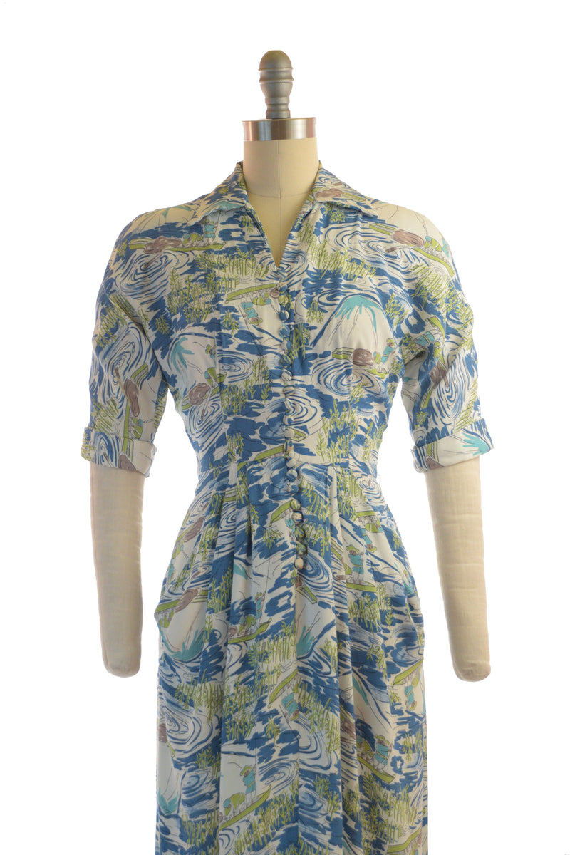 Marvelous 1940s Novelty Print Dress in Draped Rayon Crepe by Max Kopp, California