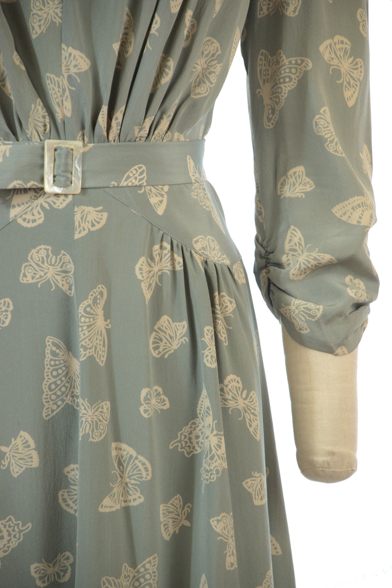 Gorgeous Late 1930s Silk Dress in Aviation Blue with Novelty Butterflies Print