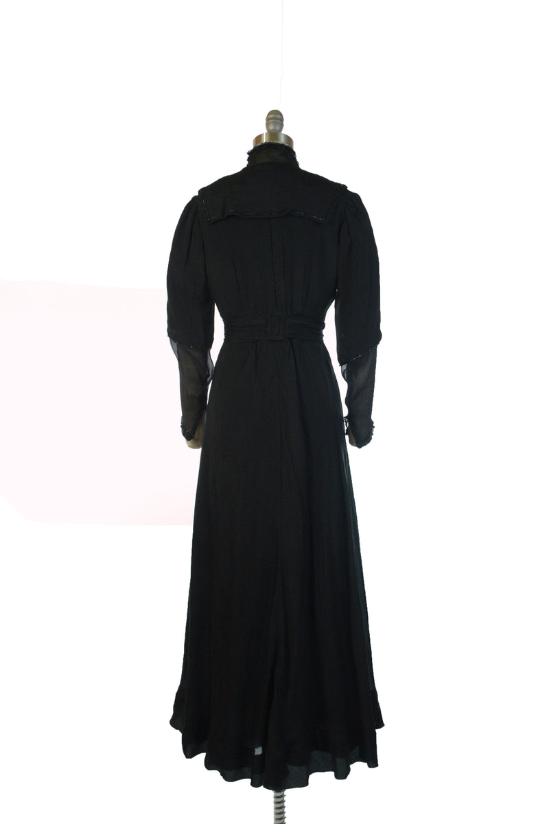 Demure Edwardian 1900s Silk Dress with High Neckline and Beaded Accents in Black Silk