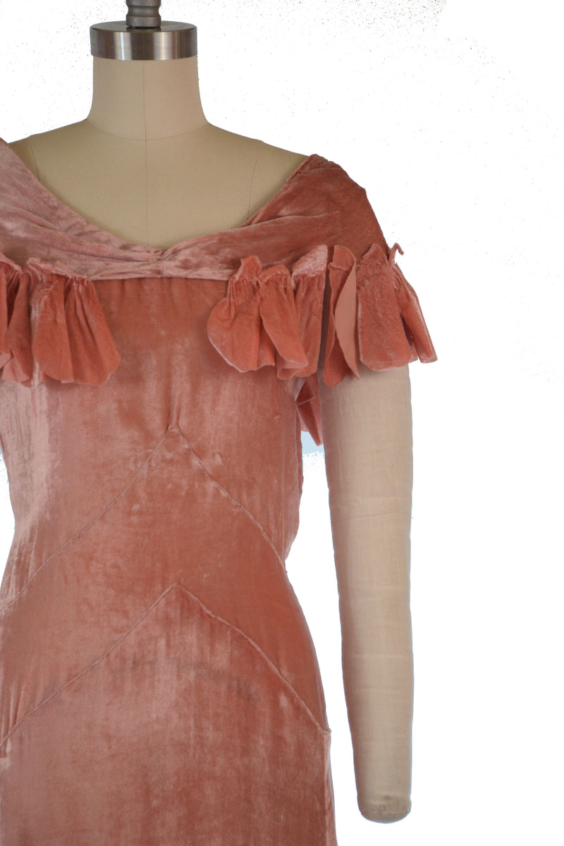 Layaway Deposit for Lustrous 1930s Spring Weight Panne Velvet Evening Gown with Attached Petal Capelet