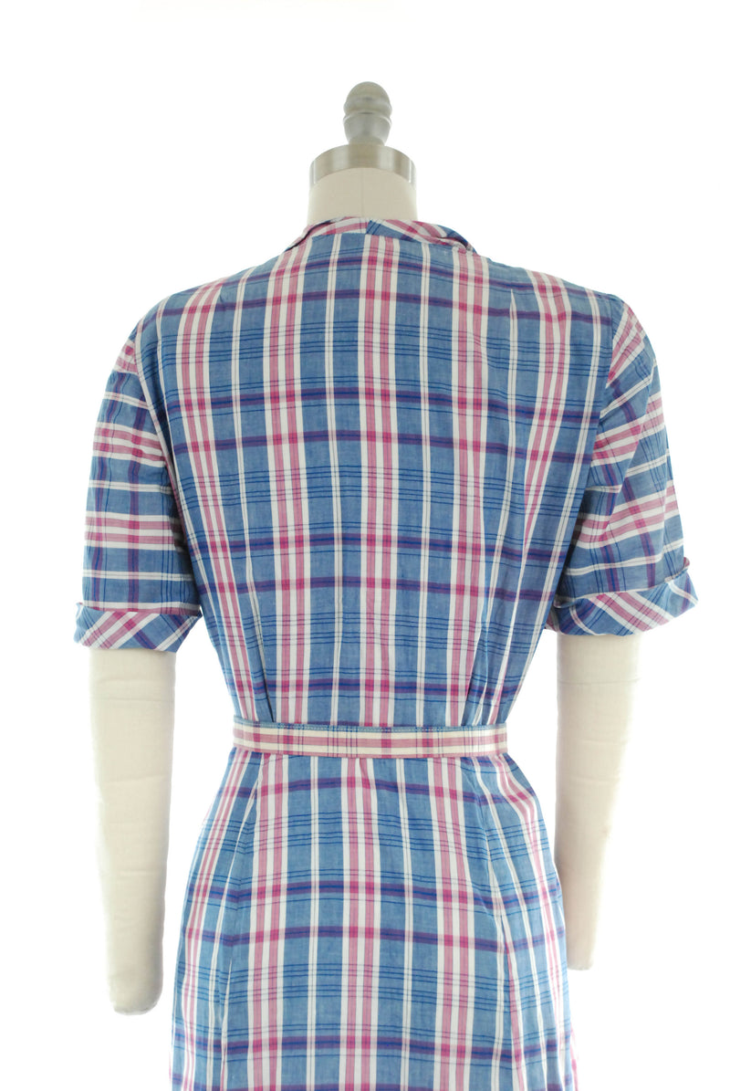 1950s Plaid Day Dress in Crisp Cotton in Pink and Blue Size Large Dolly Myers, Dan River