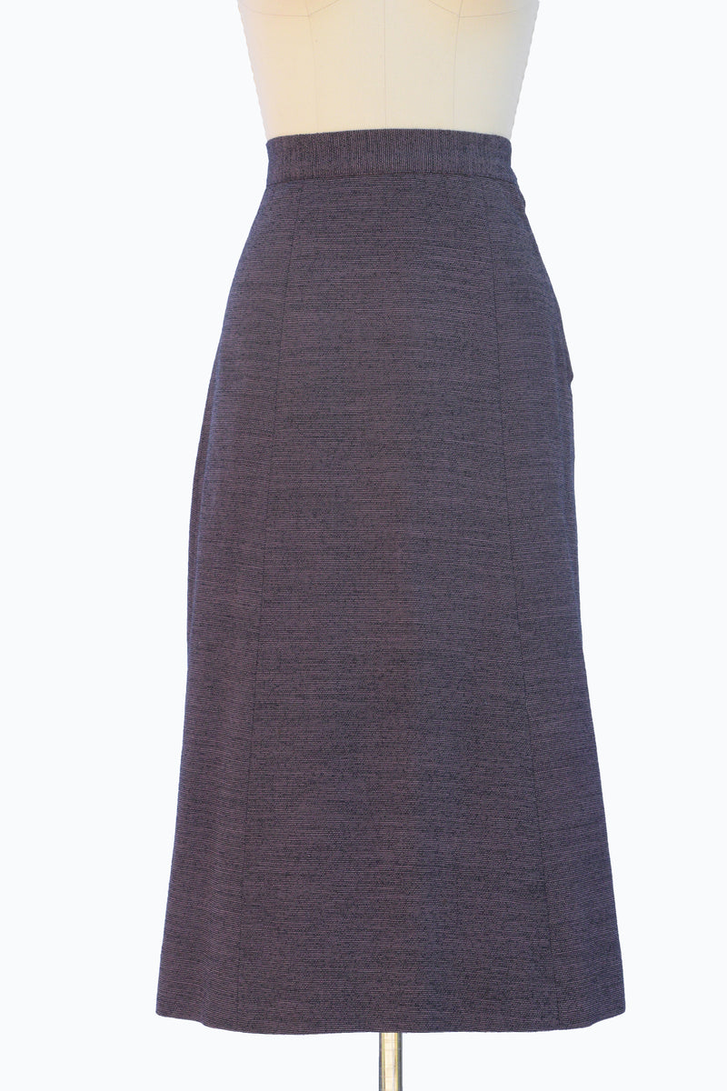 Beautiful 1940s Wool Skirt in a Black and Purple Stripe