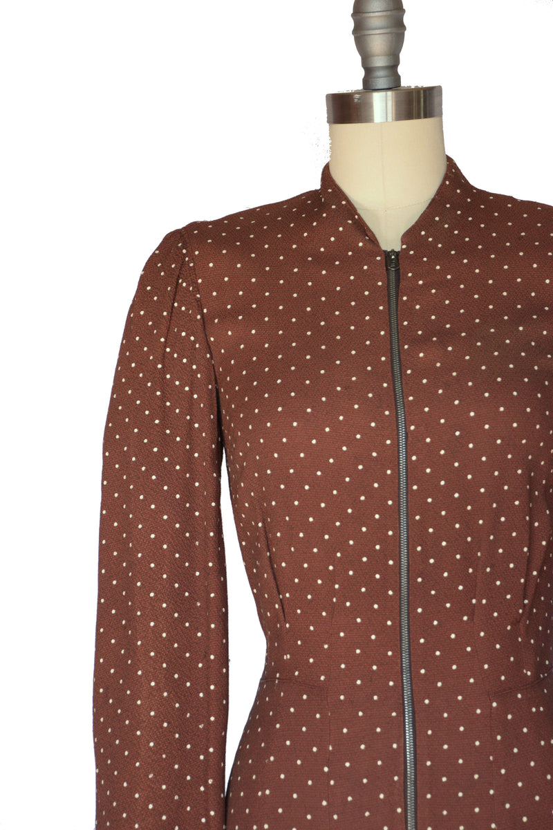 Layaway Deposit for Fantastic Late 1930s Zip Front Dress in Brown with Swiss Dots Wartime Day Dress