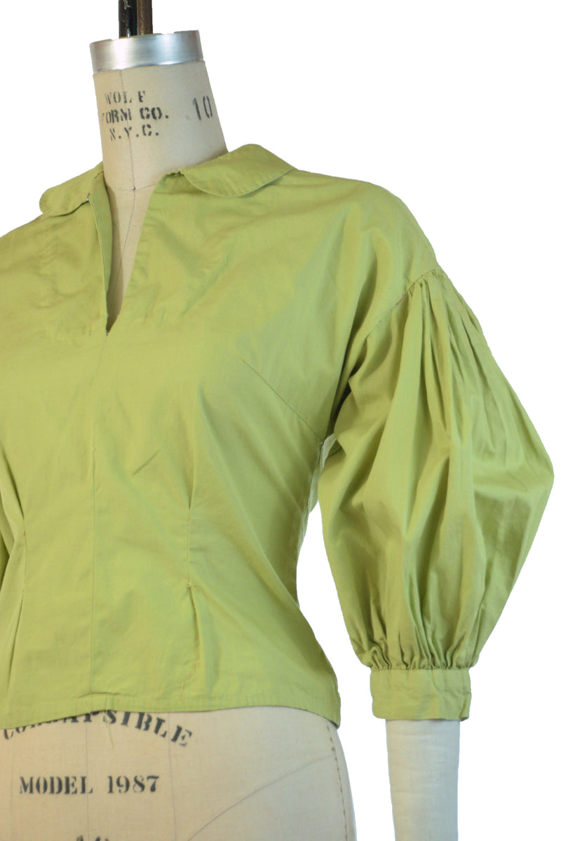 Bright 1950s Homemade Cotton Blouse in Saturated Chartruese with Full Sleeves