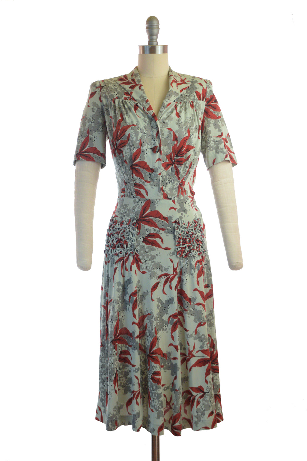 Fantastic Late 1930s Rayon Jersey Day Dress in Grey-Green and Rust Orange with Piping Lace Pockets