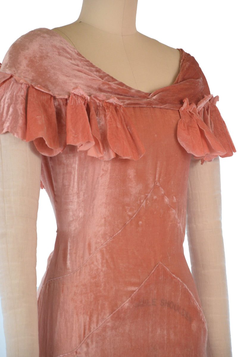 RESERVED on LAYAWAY Lustrous 1930s Spring Weight Panne Velvet Evening Gown with Attached Petal Capelet