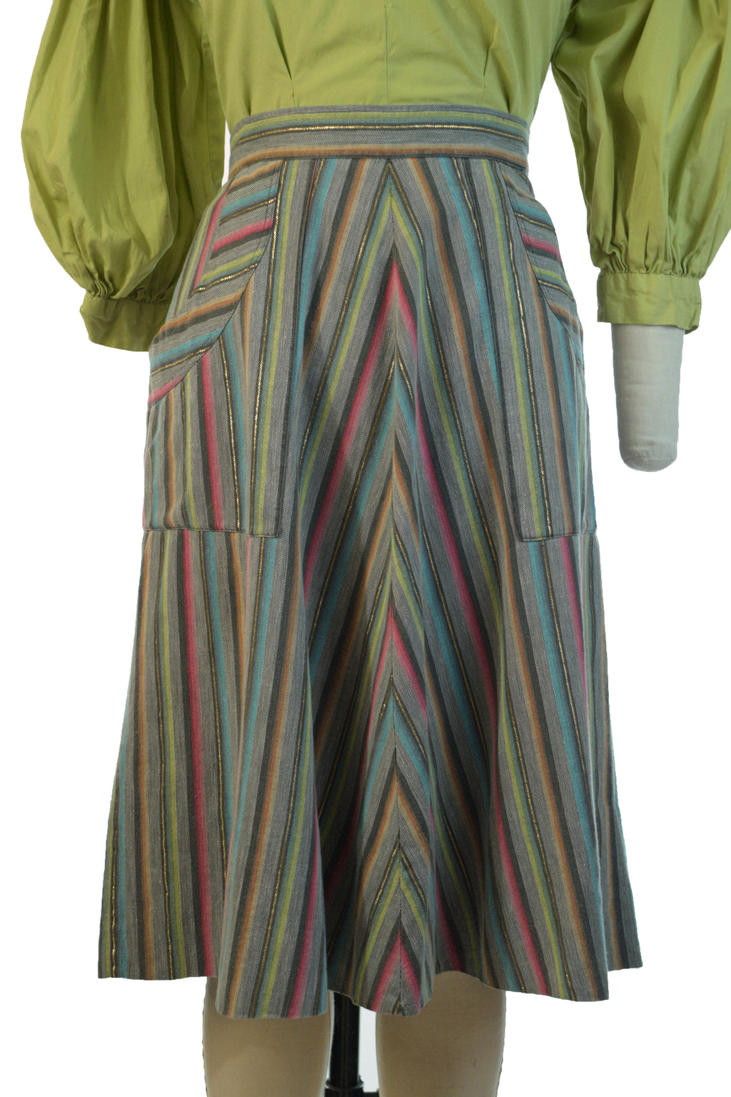 Cute 1950s or 60s Skirt in Sturdy Cotton Twill with Rainbow Chevron Stripes