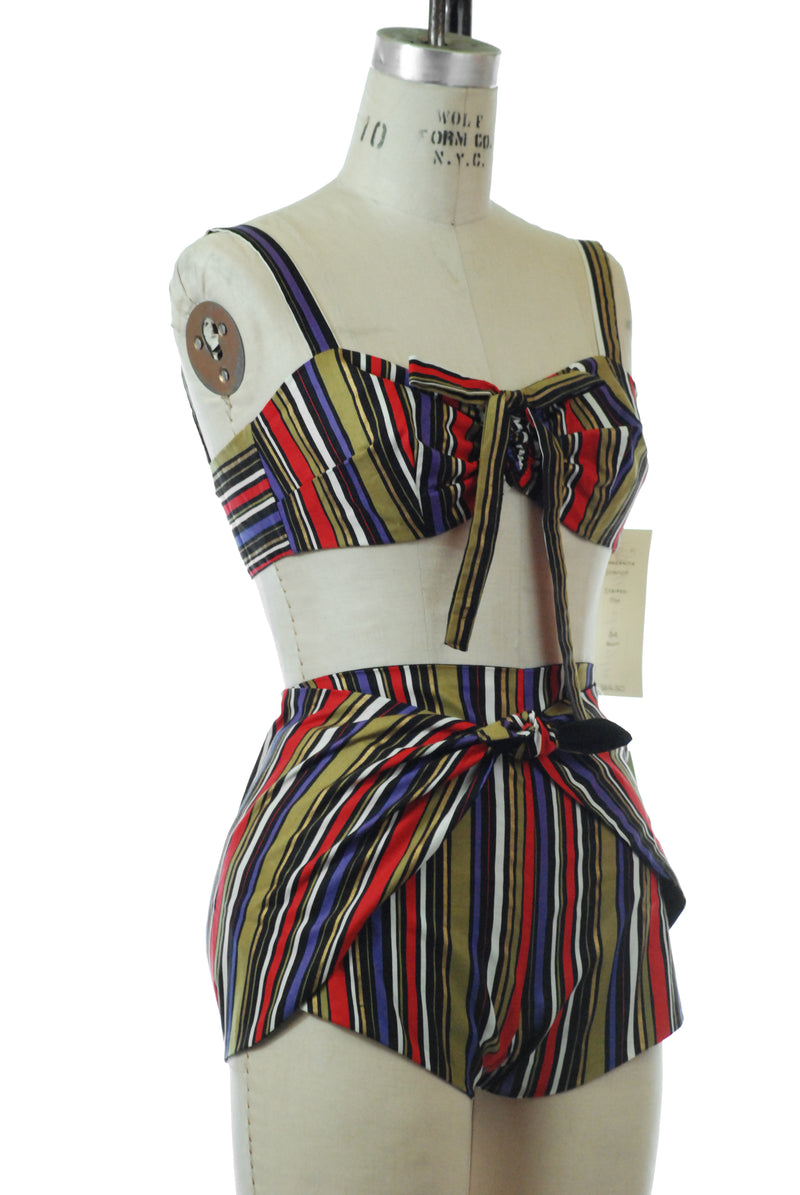 Gorgeous Jitterbuggin' 1940s Style Reproduction Manzanita Tie-Style Sunsuit in Bold Striped Cotton