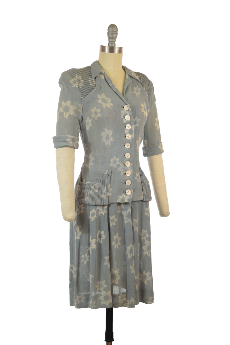 Cutest Early 1940s Mesh Two Piece Summer Set in Blue with White Floral Print