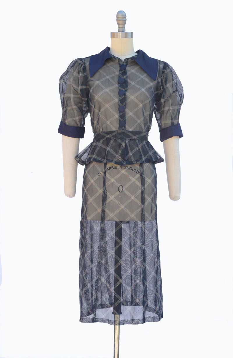 Fantastic 1930s Mesh Navy and Rainbow Windowpane Plaid Dress