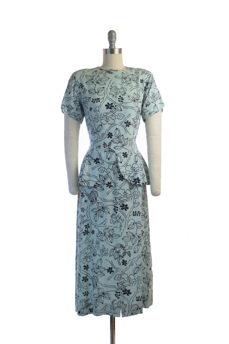 Gorgeous Pale Blue 1940s Peplum Dress in Pale Blue Matte Rayon with Black Print