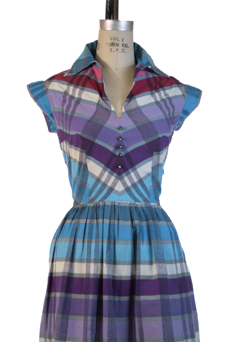 Gorgeous 1950s Bright Plaid Summer Dress in Turquoise, Magenta and Purples by Toni Todd