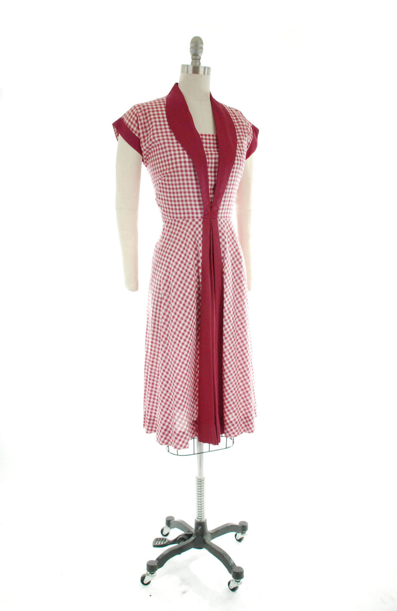 Early 1950s Cotton Day Dress in Wine Red and White Gingham