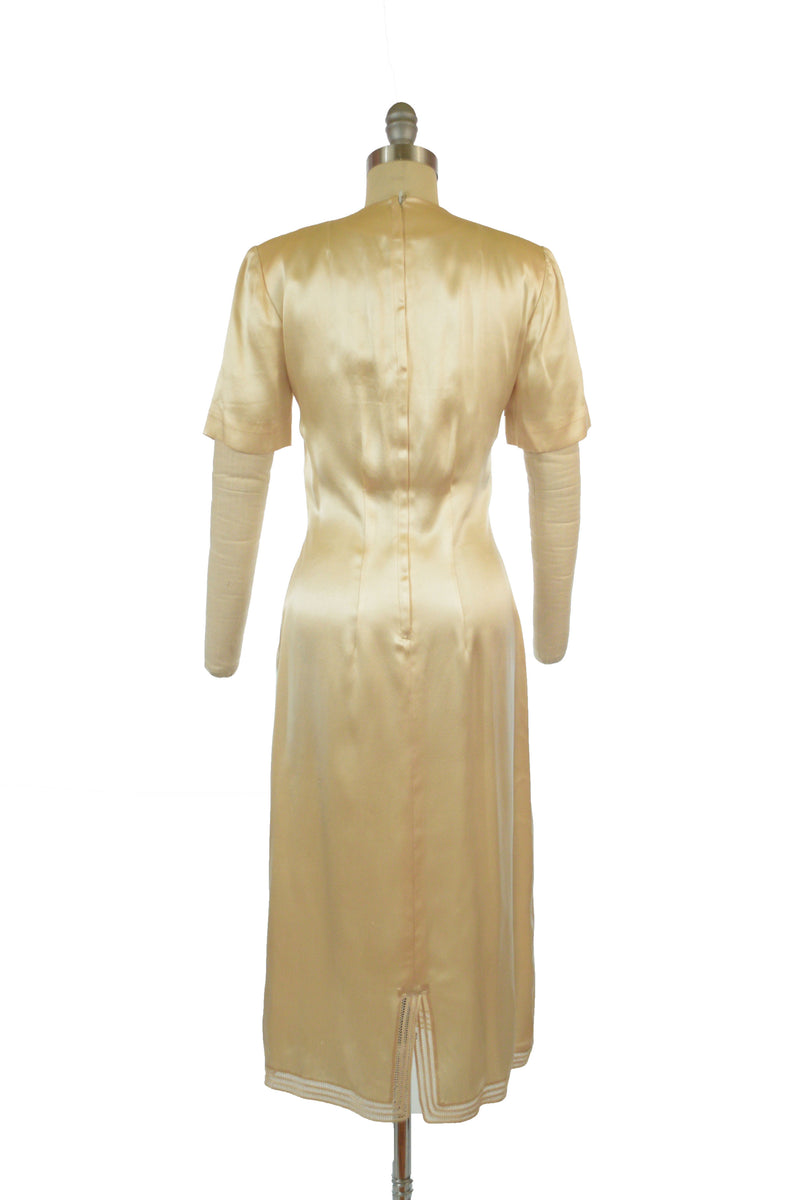 Lustrous 1950s Candlelight Silk Satin Cocktail Dress with Belgian Embroidery