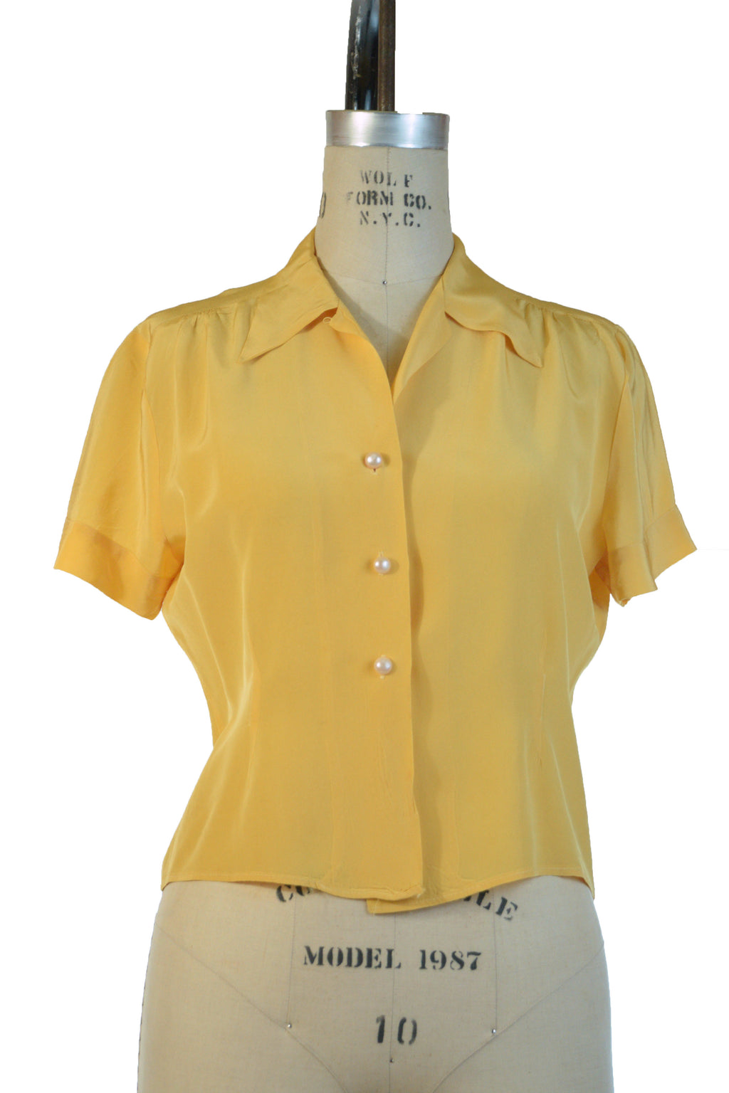 Bright 1940s Canary Yellow Rayon Blouse with Loop Collar