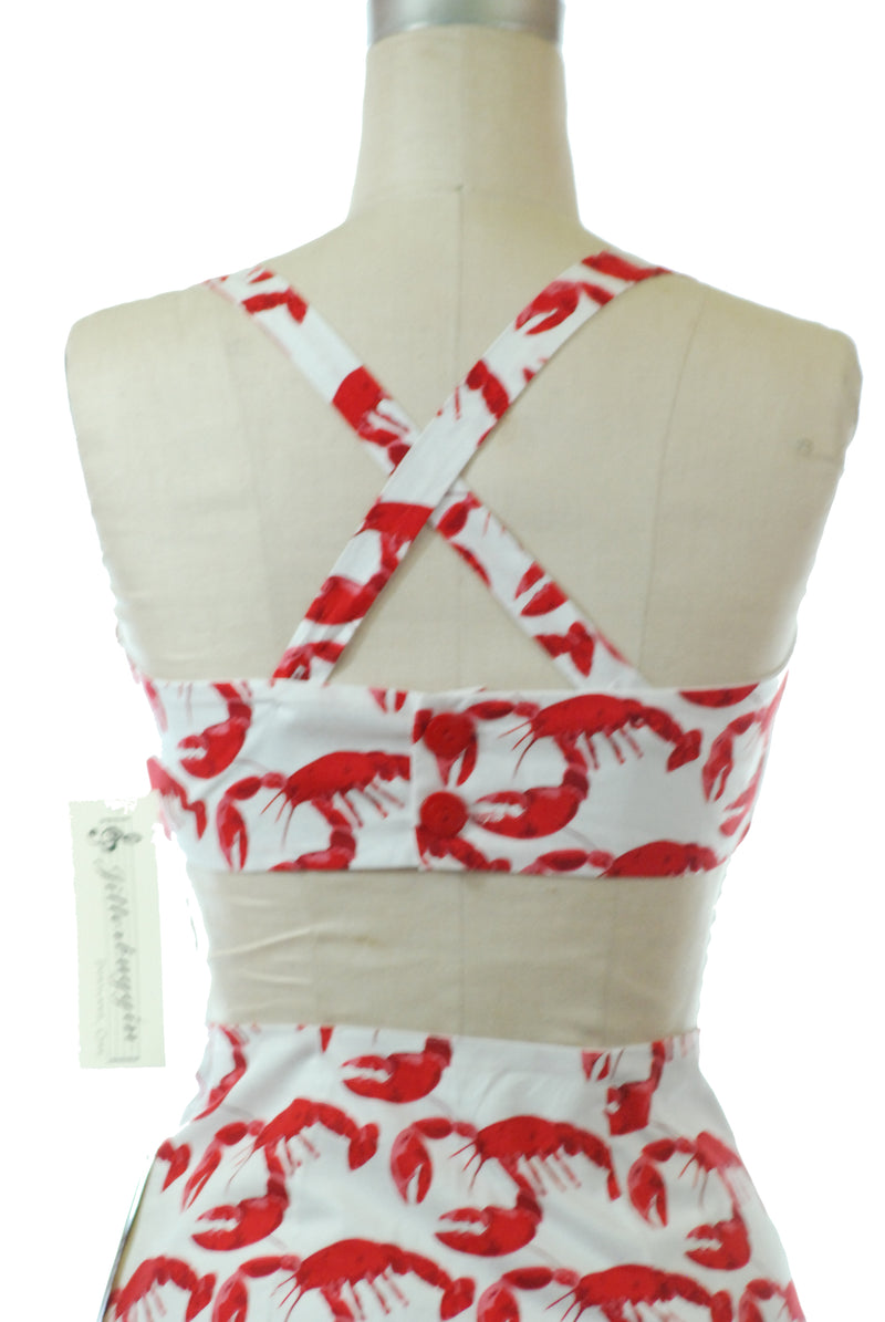 Jitterbuggin' 1940s Style Reproduction Rockaway Sunsuit in Novelty Lobster Print Cotton