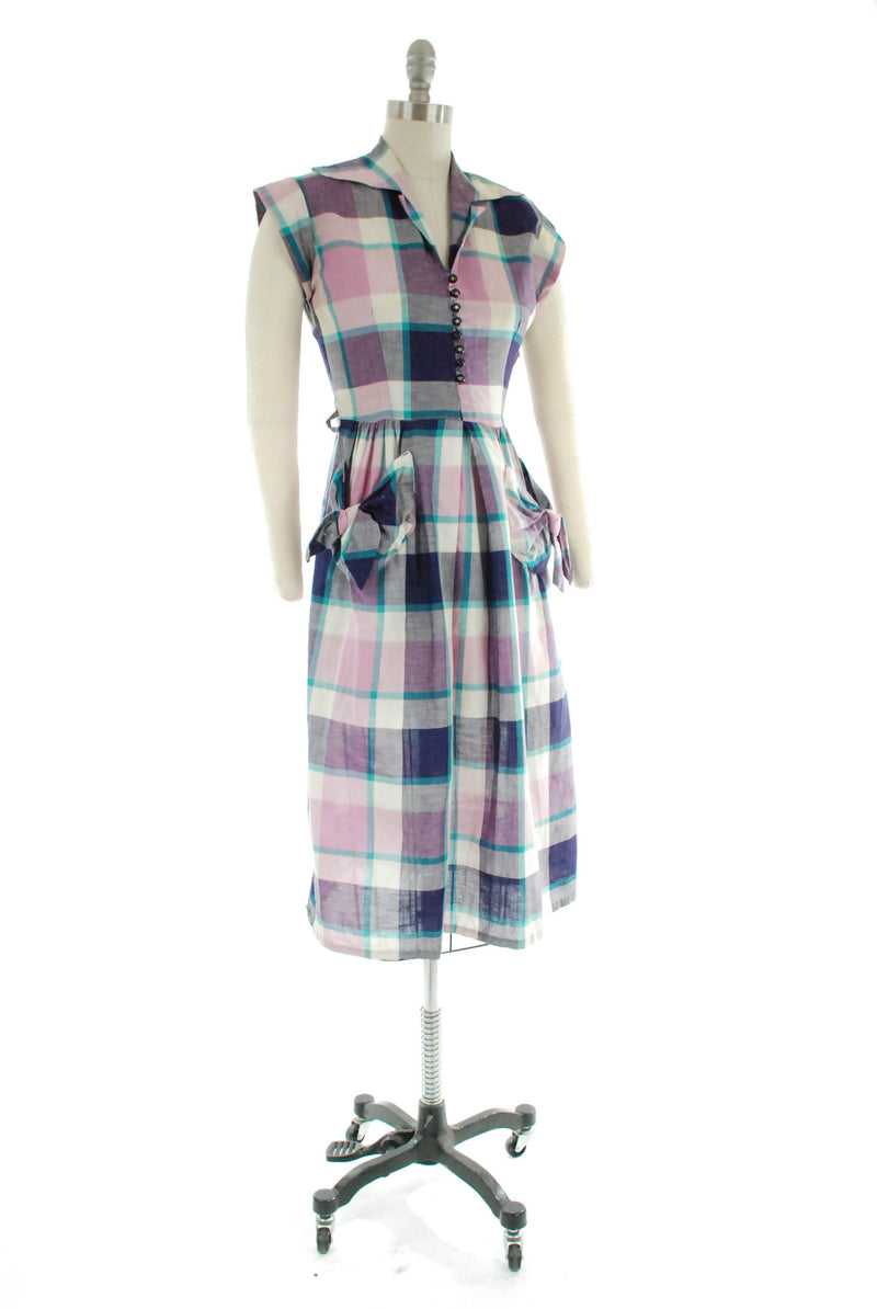 Wonderful Late 1940s Purple Plaid Cotton Day Dress with Tied Pockets