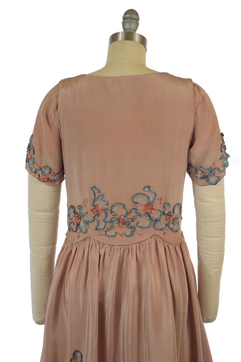 Unique Early 1920s Silk Dress with Real Coral Beads, Silk Ribbon in the Shape of Irises and Decorative Stitching