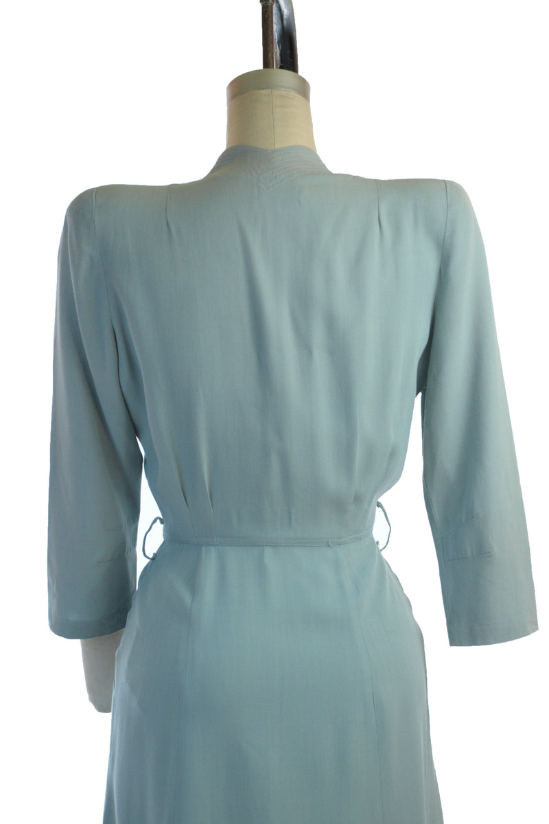 Smart 1940s Gabardine Day Dress in Sky Blue with Peaked Shoulders