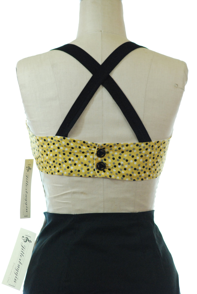Jitterbuggin' 1940s Style Reproduction Rockaway Sunsuit in Yellow Polka Dot Cotton